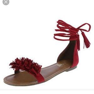 NWOT 'Brash' Tan Fringe Sandals/9